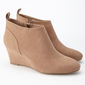 Natural Faux Suede Wedge Booties